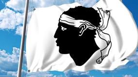 Golvende vlag van Corsica een gebied van Frankrijk stock videobeelden
