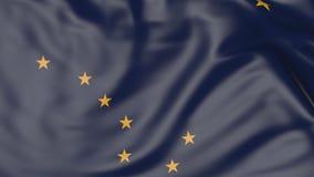 Golvende vlag van de staat van Alaska het 3d teruggeven Royalty-vrije Stock Afbeelding