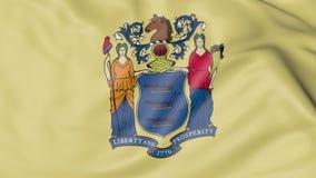 Golvende vlag van de staat van New Jersey het 3d teruggeven Stock Foto's