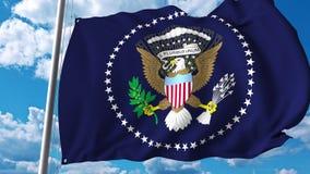 Golvende vlag van de Voorzitter van de V.S. Het redactie 3D teruggeven vector illustratie