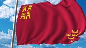 Golvende vlag van Gebied van Murcia een autonome gemeenschap in Spanje royalty-vrije illustratie