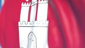 Golvende vlag van Hamburg, een staat van Duitsland Close-up, loopable 3D animatie stock footage