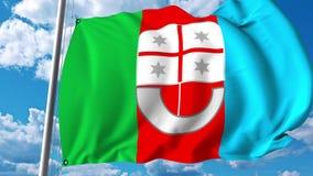 Golvende vlag van Ligurië een gebied van Italië royalty-vrije illustratie