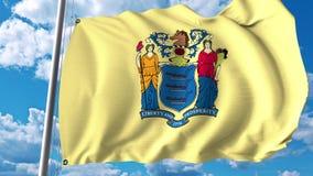 Golvende vlag van New Jersey het 3d teruggeven Royalty-vrije Stock Foto