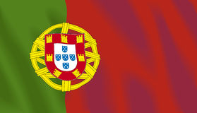 Golvende vlag van Portugal stock illustratie