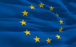 Golvende vlag van Verenigd Europa Stock Afbeeldingen