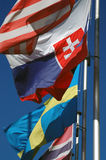 Golvende vlaggen Royalty-vrije Stock Foto's