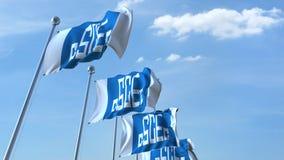Golvende vlaggen met de Bouwembleem van de Staat van China tegen hemel, het redactie 3D teruggeven Royalty-vrije Stock Afbeelding