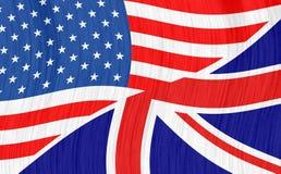 Golvende vlaggen van de V.S. en GB Stock Afbeeldingen