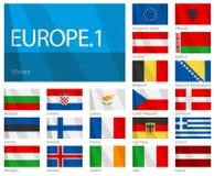 Golvende Vlaggen van Europese Landen - Deel 1 Stock Afbeeldingen