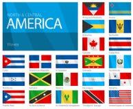 Golvende Vlaggen van het Noorden & de Landen Van Centraal-Amerika Stock Afbeelding