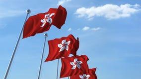 Golvende vlaggen van Hong Kong tegen de hemel stock footage