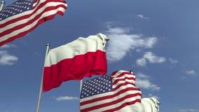 Golvende vlaggen van Polen en de V.S., loopable 3D animatie stock footage