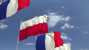 Golvende vlaggen van Polen en Frankrijk, loopable 3D animatie stock videobeelden