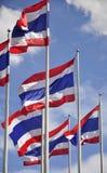 Golvende vlaggen van Thailand Stock Foto's