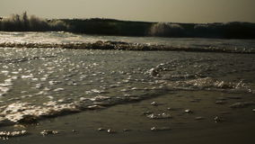 Golvenwas over gouden zand op het strand stock video
