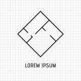 Golvplan, inre av lägenheten, logodesign svart och wh vektor illustrationer