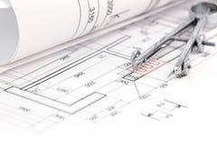 Golvplan med den rullande ritning- och teckningskompasset Fotografering för Bildbyråer