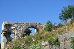 Golyazi old castle walls. Bursa beautiful lake Royalty Free Stock Photo