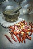 Goma del chile de la libra y de la rejilla, aún cocina tailandesa de la vida Imagen de archivo libre de regalías