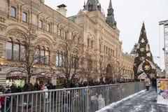 GOMA universal de la tienda de la tubería de la decoración de los días de fiesta del Año Nuevo de la Navidad, Plaza Roja en Moscú Foto de archivo