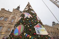 GOMA universal de la tienda de la tubería de la decoración de los días de fiesta del Año Nuevo de la Navidad, Plaza Roja en Moscú Fotos de archivo libres de regalías