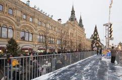 GOMA universal de la tienda de la tubería de la decoración de los días de fiesta del Año Nuevo de la Navidad, Plaza Roja en Moscú Imagen de archivo libre de regalías