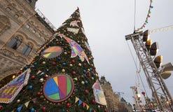 GOMA universal de la tienda de la tubería de la decoración de los días de fiesta del Año Nuevo de la Navidad, Plaza Roja en Moscú Imágenes de archivo libres de regalías