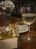 Gombo con bicchiere di vino Fotografie Stock Libere da Diritti