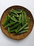 Gombo, légumes verts photographie stock libre de droits