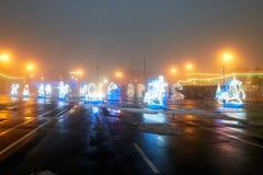 Gomel, Λευκορωσία - 28 Δεκεμβρίου 2017: Νέος φωτισμός έτους ` s στο κύριο τετράγωνο της πόλης Μικρές αρχιτεκτονικές μορφές στοκ εικόνα με δικαίωμα ελεύθερης χρήσης