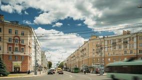 Gomel, Λευκορωσία - 6 Ιουνίου 2018: Οδός λεωφόρων Λένιν στην ηλιόλουστη θερινή ημέρα απόθεμα βίντεο