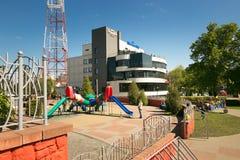 GOMEL, ΛΕΥΚΟΡΩΣΊΑ - 14 Μαΐου 2017: Η οικοδόμηση του ψωνίζοντας κέντρου Pushkin Plaza ψυχαγωγίας στην πόλη Gomel Στοκ φωτογραφία με δικαίωμα ελεύθερης χρήσης