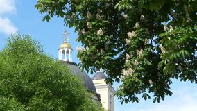 GOMEL, ΛΕΥΚΟΡΩΣΊΑ - 15 ΜΑΐΟΥ 2019: Πάρκο πόλεων Peter και καθεδρικός ναός του Paul απόθεμα βίντεο