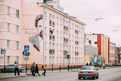 Gomel, Λευκορωσία Πορτρέτο γκράφιτι του της Λευκορωσίας αρχιτέκτονα Stanislav Στοκ Εικόνες