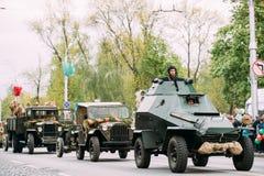 Gomel, Беларусь Moving парад столбца русских советских войск Стоковые Фотографии RF