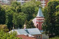Gomel, Belarus. Aerial View Of Old Believers` Transfiguration Church. Orthodox Church At Sunny Summer Day stock image
