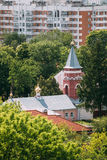 Gomel, Belarus. Aerial View Of Old Believers` Transfiguration Church. Orthodox Church At Sunny Summer Day stock photography