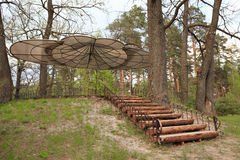 Gomel, Belarus - 30 April, 2017: a beautiful architectural solution. Arbor without walls on the basis of rest RANCO. Gomel, Belarus - 30 April, 2017: a Stock Photography