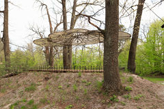 Gomel, Belarus - 30 April, 2017: a beautiful architectural solution. Arbor without walls on the basis of rest RANCO. Gomel, Belarus - 30 April, 2017: a Royalty Free Stock Photo
