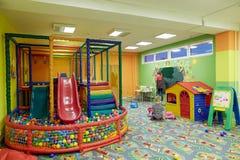 GOMEL, BELARUS - 18 April 2018: Children play in the children`s entertainment center. children`s playroom. royalty free stock image