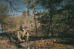 Re-enactor Dressed As Soldier Of United States Of America Infant. Gomel, Belarus - April 23, 2017: Re-enactor Dressed As Soldier Of USA Infantry Of World War II Stock Photography