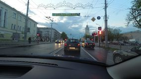 GOMEL, BELARUS - 29 April 2017: time-lapse in motion. car rides down the city street in the evening. GOMEL, BELARUS - 29 April 2017: time-lapse in motion. car stock footage