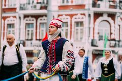 Gomel, Belarus. Belarusian woman in national traditional Belarus royalty free stock photography