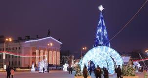 Gomel, Belarus - December 17, 2018: Gomel Regional Drama Theatre And Main Christmas Tree With Festive Illumination On. Lenin Square. New Year, Winter Holidays stock video