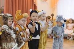 Gomel, Belarus - DECEMBER 22, 2016: New Year`s holiday for children in kindergarten. Children 3 - 4 years Stock Image