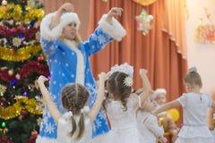 Gomel, Belarus - DECEMBER 22, 2016: New Year`s holiday for children in kindergarten. Children 3 - 4 years Stock Images