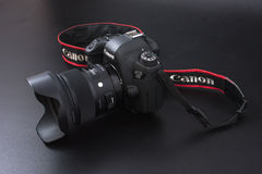 Gomel, Belarus - 22 February 2017: Canon Camera - 6d with Sigma Lenses - 24 on the black background. stock photo