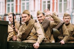 Gomel, Belarus. Group Of Re-enactos Young Dressed As Russian Sov royalty free stock image
