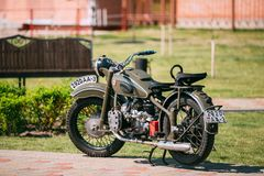 Gomel Belarus. IMZ M-52 Ural Old Rarity Two-Wheeled Khaki Motorcycle. Gomel, Belarus - May 9, 2016: IMZ M-52 Ural, The Old Rarity Soviet Two-Wheeled Khaki Royalty Free Stock Images